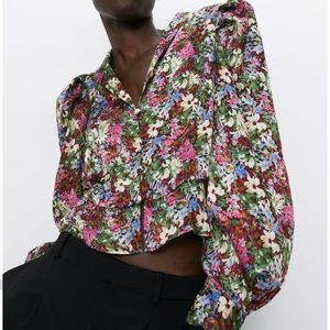 ZARA Floral PuffShoulder Blouse Lapel Collar Shirt
